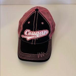 """Pink and black """"Cougar"""" baseball style hat"""